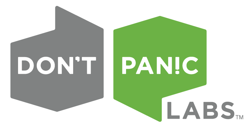 The logo for Don't Panic Labs, the software design and development company that created Tenzing.