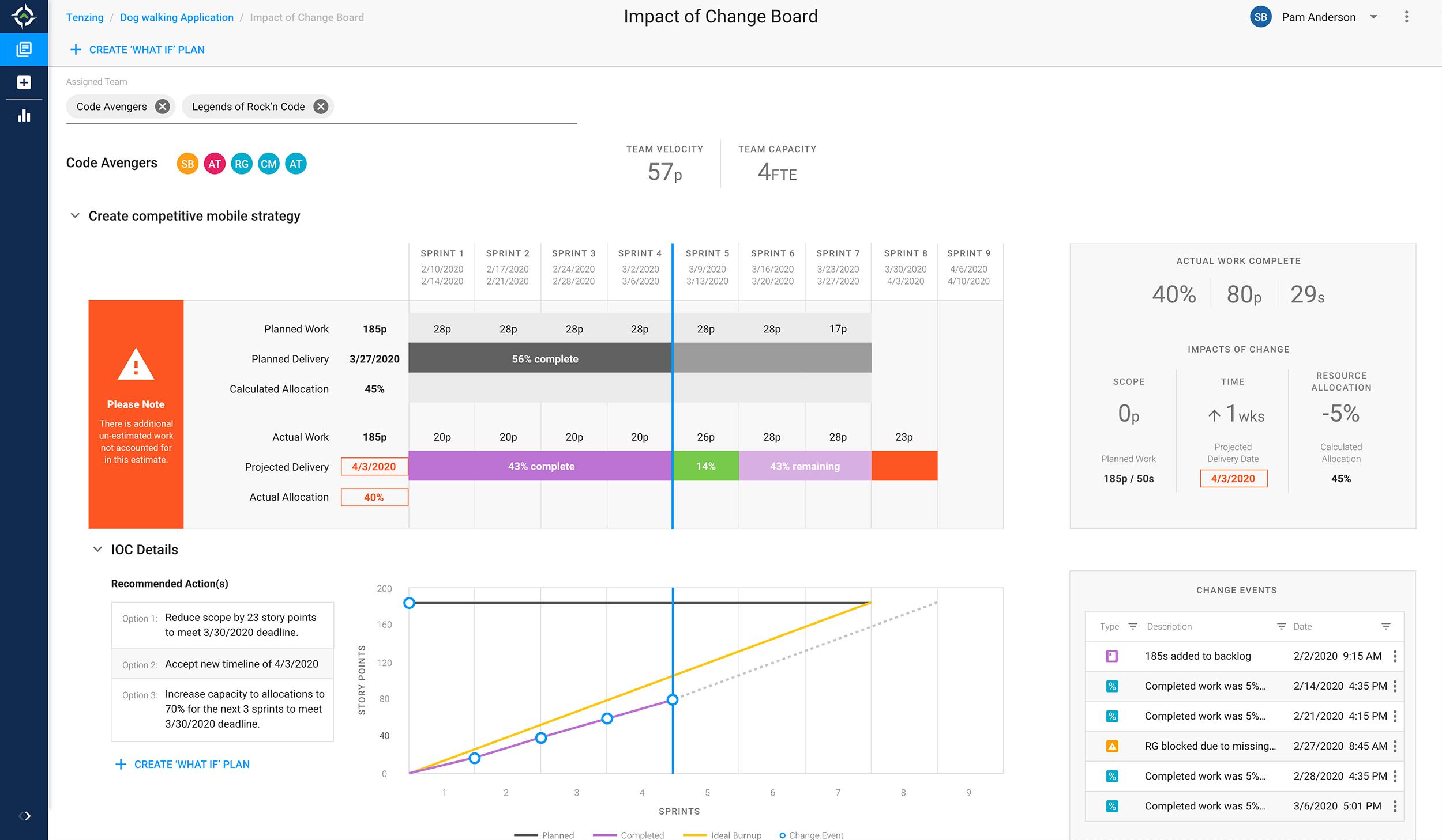 Image of Tenzing's Impact of Change screen.
