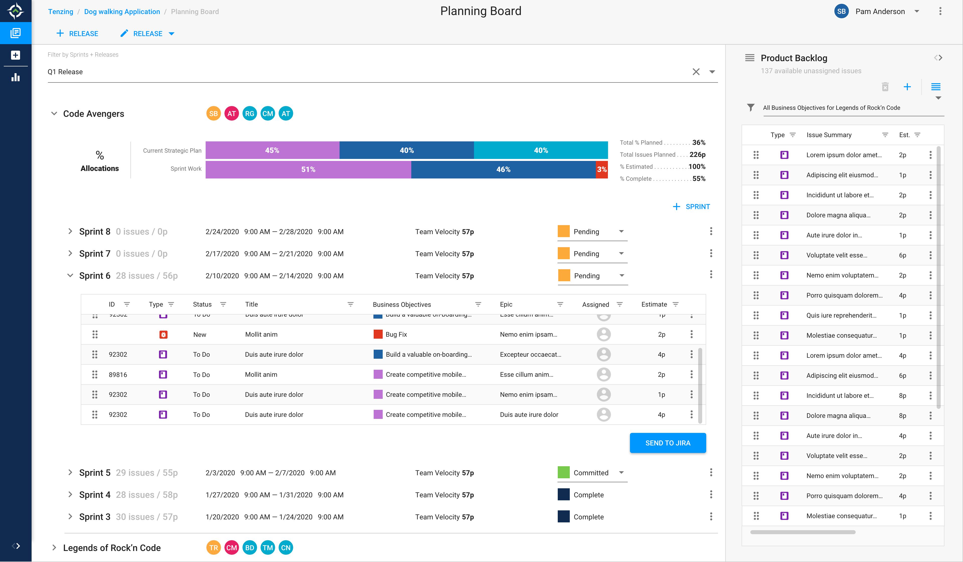 Image of Tenzing's Planning Board screen