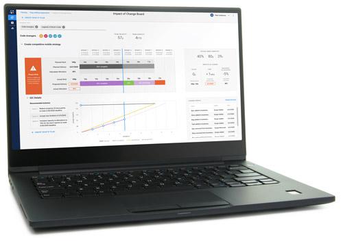 A laptop computer running Tenzing software